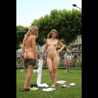 Infront Of A Crowd - Exposed In Public, G String, Nude In Public , Infront Of A Crowd, Two Girls Showing, Public Exposure, G String, Public Nudity, Cheeky, 2 Girls Stripping In Public