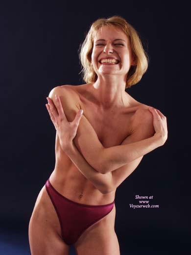 Smile - Smile, Sexy Panties , Smile, Athletic Women, Women With Muscles, Fit Slender Body, Vintage Panties, Hugging Herself, High Cut Red Sheer Thong