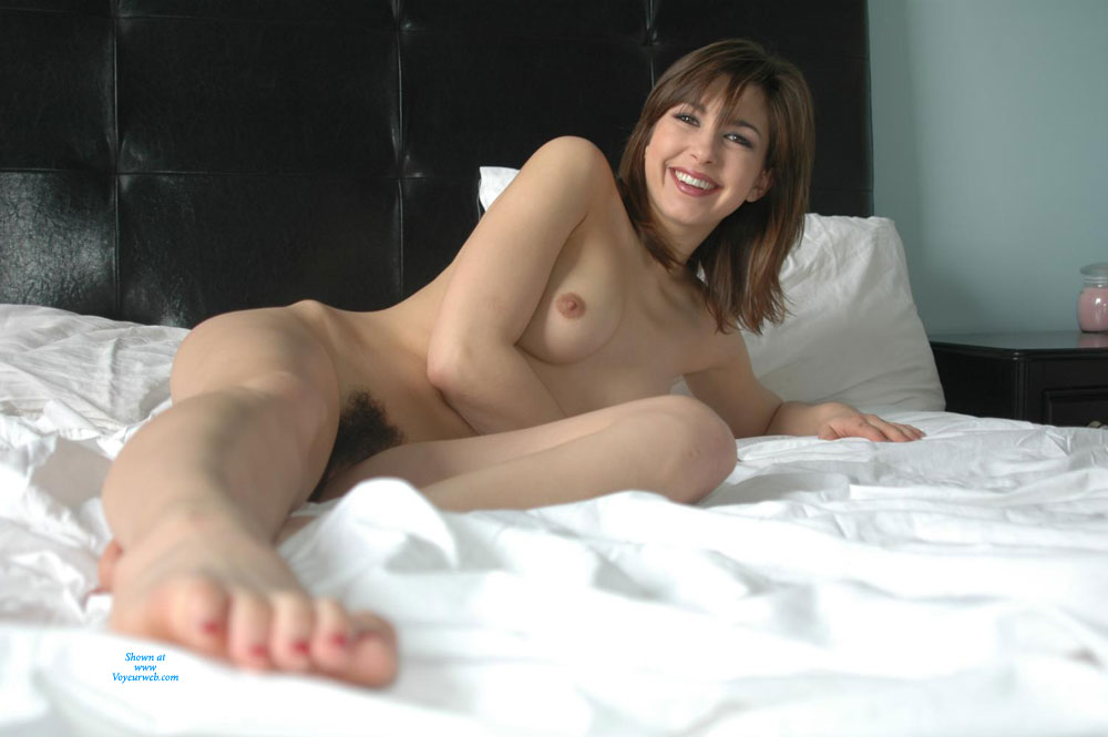 Nude Woman On Bed - Sexy Woman , Heart-shaped Bush, Smiling, Delicious Toes, Hairy Pussy, Frontal Nude On Bed, Fantastic Smile, Natural Bush, Kissable Feet., Toes Toward Camera, Beaver Babe, Suckable Toes