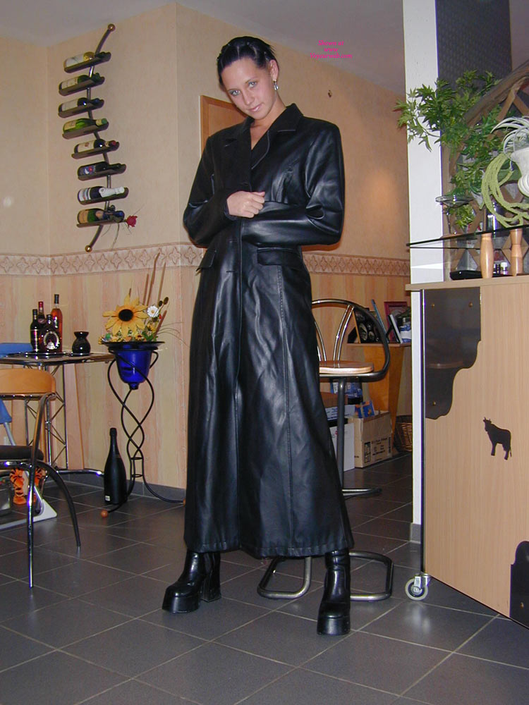 Tiny Minka In Black Leather , Hot Little Minka Nude Under A Long Leather Jacket