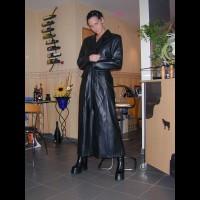 Tiny Minka In Black Leather , Hot Little Minka Nude Under A Long Leather Jacket