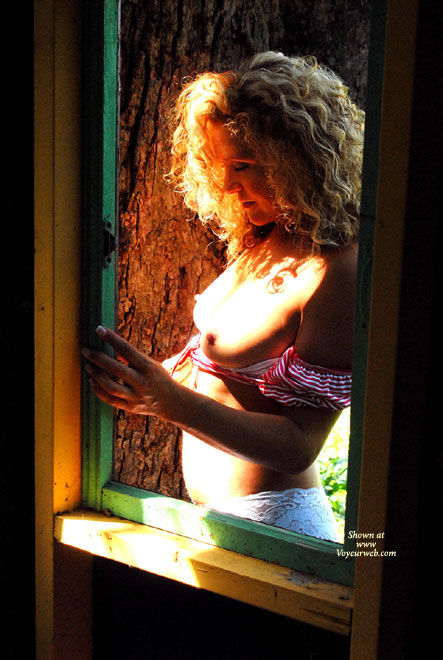Hot Wife Topless - Hard Nipple, Topless, Topless Wife , Reveals Boobs, Window Peeking, White Lace Panties, Sunny Boobs, Through The Window, Standing Behind A Window, Pulled Down Top, Curly Blond