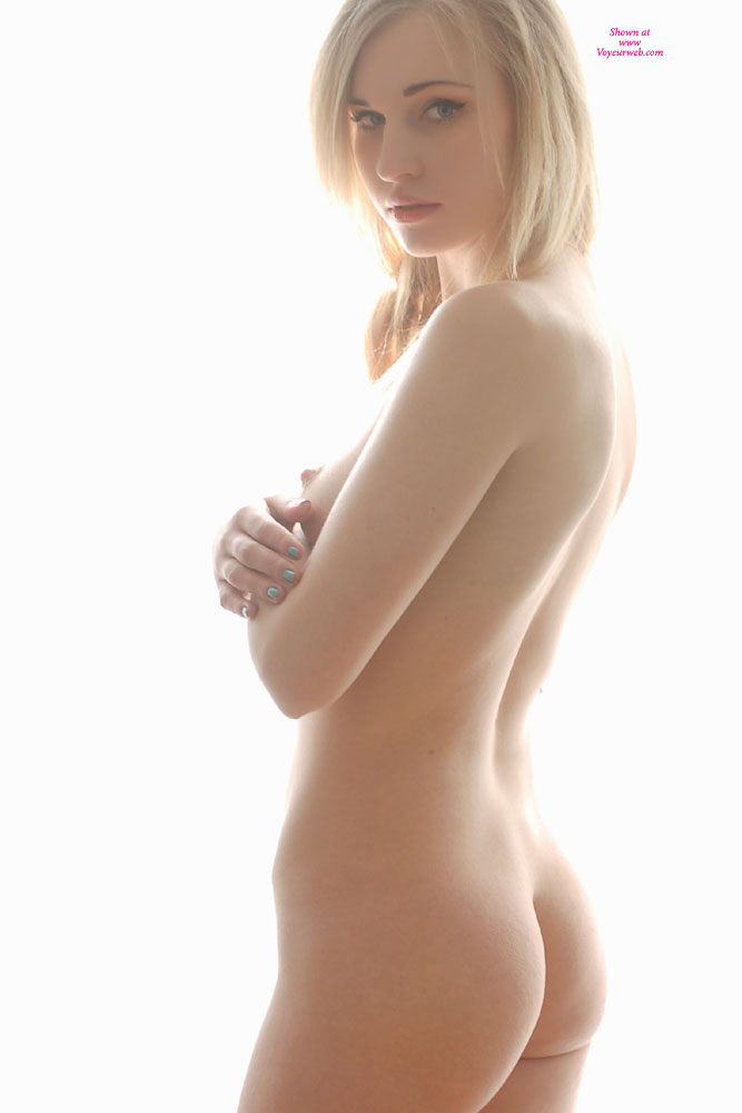 Standing Naked - Blonde Hair, Long Hair, Small Tits, Nude Amateur , Firm Ass, Bright Blue Green Painted Fingernails, Small Butt, Backlit Beauty, Svelte Figured Girl