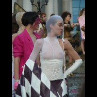 Pantyhose Over Head , See Thru Shirt, White Tits, Protest Look, Hand On Hip, Checkered Flag, Event Voyeur, White Body Stocking, Pantyhose Worn Over Upper Ody, See Through