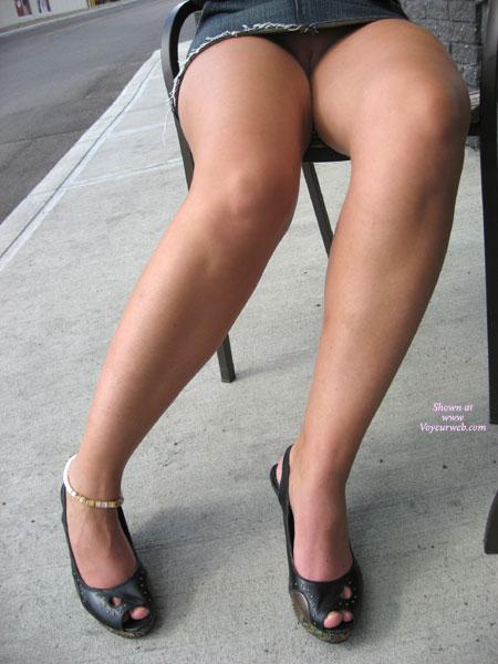 Upskirt - Sandals, Upskirt , Upskirt, Pussy Looking Out, Public Nude, Long Legs Up With A Surprise, Pantieless, Short Denim Miniskirt, Black Peeptoe Sandals