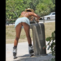 Pantyless Upskirt Of Rollerblading Girl - Milf, Shaved Pussy, Upskirt, Pussy From Behind , Chiffon Mini Skirt/ No Panties, Upskirt On Rollerblades, Light Blue Raised Micro Skirt, Straw Cowboy Style Hat, Blade Babe, Firm Milf Ass, Street Voyeur, Leaning Over, Rollerblades