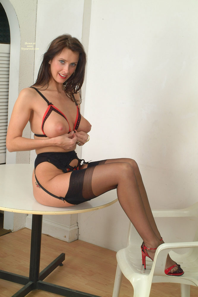 Sexy Girl In Lingere Sitting On Table - Brown Hair, Firm Tits, Long Legs, Stockings, Sexy Legs, Sexy Lingerie, Sexy Woman , Red Cfm Heels, Full Table Service, Firm Bullet Tits, Peekaboo Bra, Perfect Tits, Sheer Thigh High Stockings, Maid Of The Round Table, Garter Belt, Long Sexy Legs