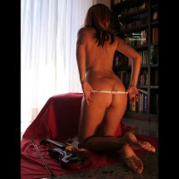 Nude From Behind - Round Ass, Naked Girl, Nude Amateur , White Thong, Girl Pulling Down White Panties, Firm Round Ass, Shapely Feminine Thighs, Thong Pulled Halfway Down Ass, White G-string, Kneeling On A Table, Barefeet