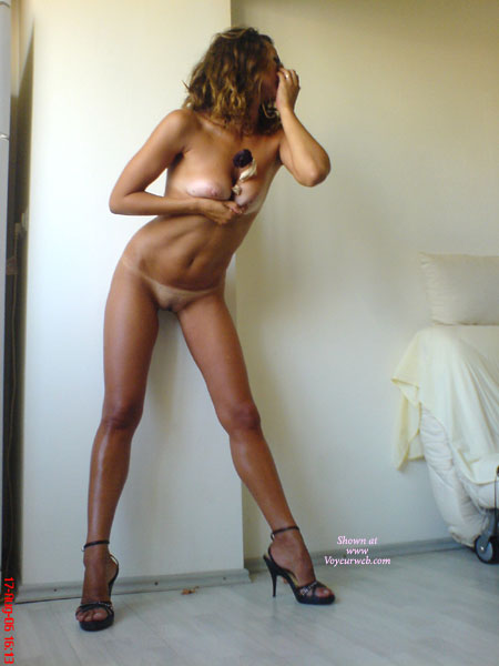 Naked In Heels - Tan Lines , Naked In Heels, Tan Lines, Forced Cleavage, Pink Areolas