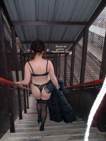 Black Lingerie Walking Down - Exposed In Public , Black Lingerie Walking Down, Exposed In Public, Black Lace Thong, Black Stockings