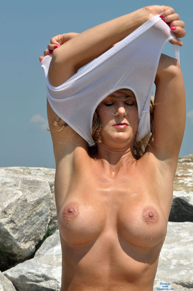 Braless Girl Undressing Top - Big Tits, Firm Tits , Nude Friend, Aroused Nipples, White Top, Arms Up, Cute Face, Showing Both Armpits, Pulling White Top Over Her Head