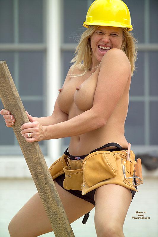 Blonde Outdoors - Blonde Hair, Nipples , Blonde Outdoors, Rebuilding America, Tool Belt, Fun Pic, Construction Nipples, Lady Contractor, Erect Nipples On Construction Site, Hard Nipples In Hard Hat, Board Blonde, Toolbelt Boobs