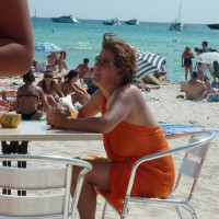 Taking Photos At The Bar In Es Trenc Mallorca