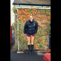 Long Legged Girl Flashing Outdoors