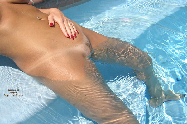 Girl On Pool , Girl On Pool, Red Nails, Pussy, Naked In Water, Pool Pussy