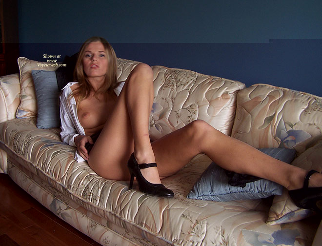 Sexy Legs - Blonde Hair, Heels, Long Legs, On The Couch , Sexy Legs, Stretched On Couch, Open White Shirt, Black High Heels, Blonde Hair, Long Legs, Dark Blonde Hair, Long Hair Blonde, Blue Eyes