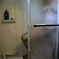 Under Shower Behind Glass