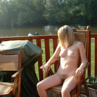 Naked By Lake - Blonde Hair, Nude Outdoors, Naked Girl , Naked By Lake, Naked, Outdoors, Nude On Patio, Blonde, Sitting On A Chair