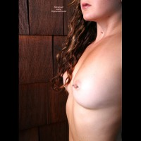 Pierced Nipples With Barbells - Brunette Hair, Pierced Nipples , Smallish Breasts, Very Attractive, Short Nipples, Self Shot, Long,curly Brunette, Tiny Tits