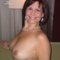 Topless Indoors - Perky Nipples, Topless , Topless Indoors, Sitting Up, Big Smile, C Cup, Perky Nipples, Small Areolas