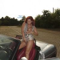 Topless Girl:*MFF Lady E Seducing A Biker Outdoors - Topless Amateurs