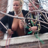 Mardi Gras - Blonde Hair, Hanging Tits , Mardi Gras, Blond Hair, Topless Leaning Out Of Window, Flashing Boobs, Hanging Tits, Tits In Public, Black Wollen Cardigan, Sterling Silver Neck Collar