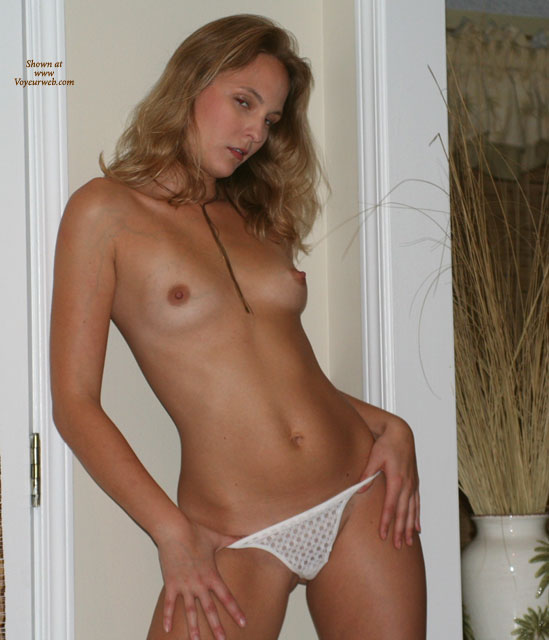 Topless With Hands On Hips - Perky Tits, Sexy Panties , Topless With Hands On Hips, White Panties, Petite Breasts, Full Shot, White Lace Paties, Thumbs In Panties, White Tong, Perky Boobs, Topless Young Blonde