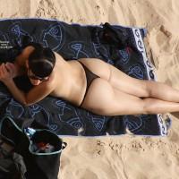 Beach Voyeur:Black Lace G-Strings On The Beach - Beach Voyeur