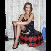 Pantieless Girl:*MFF Bedroom Tease - Blue & Dots