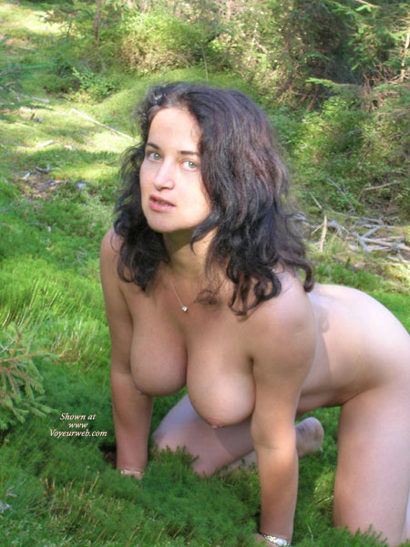Doggie Style - Big Tits, Brunette Hair, Nude Outdoors, Hot Wife , Doggie Style, Big Breasts, Wfi, Outdoors, Vertical Boobs, Brunette