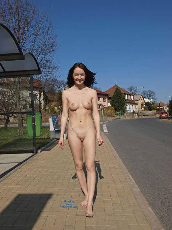 Nude Girl:*MFF On The Bikers Trail , Walking Naked On A Bikers Trail