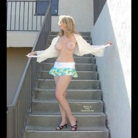 Topless Outdoor - Exposed In Public, Large Nipples, Skirt, Topless Outdoors , Topless Outdoor, Topless On Stairs, Topless Outdoors, Large Nipples, Braless Beauty Exposed, Ultra Short Skirt, Naked On Steps, Large Natural Breasts, Large Pale Aerolas