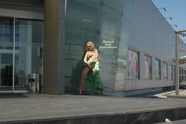 Outside Flash - Exposed In Public , Outside Flash, Green Dress, Leggy Blond, Finger Fucking, Exposed In Public, From Far Away, Flashing Tits And Pussy