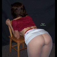 Bent Over Chair - Dark Hair, Milf , From Behind, Ass Toward Camera, Pierced Nipple, Hot Milf Body, Elbows On Chair, Fishnet Stockings, Shapely Feminine Thighs, Facing Away