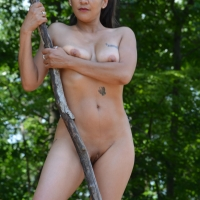 Silver in The Forest , Monet Shows Off Her Microbikini In The Woods
