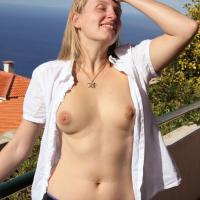 Bri is Back Again - Big Tits, Blonde Hair, Nude Outdoors, Dressed , Long Time No See!   We Hope You Enjoy The Pics We Have Taken On The Balcony Of Our Holiday Apartment...