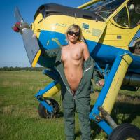 Airplane - I - Outdoors, Blonde, Dressed, Small Tits, Teens