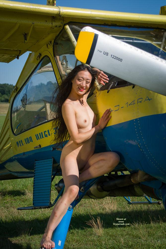 Airplane - II - Asian Girl, Flashing, Small Tits, Dressed , Some Guys Asked If Lin (a Girl Friend Of Stephanie, See Pic. One) Would Agree To Pose. She Did...