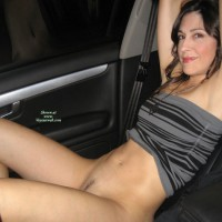 Flashing In Car - Brunette Hair, Dark Hair, Flashing, Landing Strip, Pussy Flash , Naked Bottom No Pants In Car, Hint Of Bush In Car, Pantyless In The Car, Grey And Black Striped Tube Top, Prick Teaser For Truck Drivers, Brunette Hair, Girl & Car, Medallion Necklace, Half Naked, Smile At Camera