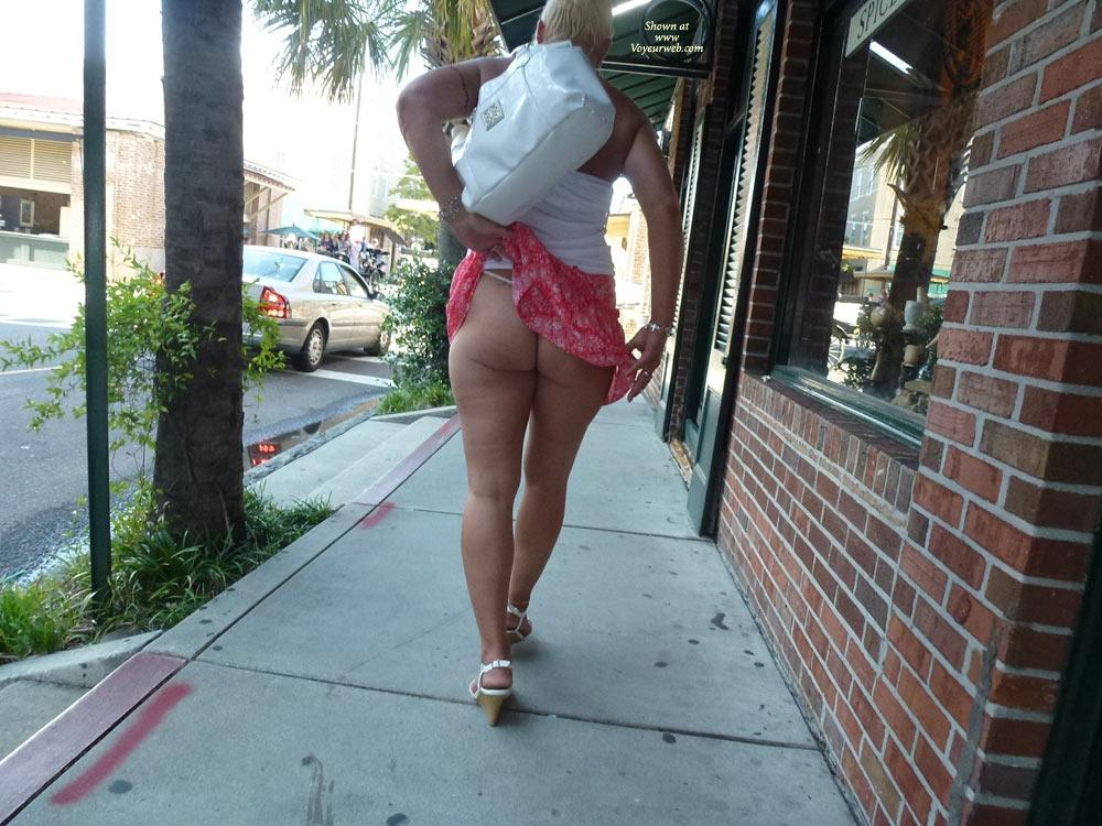 Blondie Up at Market - Blonde Hair, Exposed In Public, Flashing, Nude In Public , Girlfriend And I Went To Charleston, And Took Pics Of Her Flashing Everywhere.  Had A Blast Enjoy