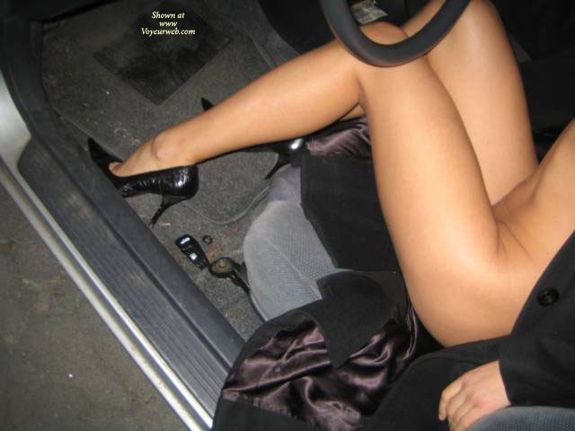 Legs And Heels In Car - Heels, Long Legs, Sexy Legs , Sexy Driver Legs, Heel Appeal, Heels And Legs, Overcoat And Heels, Bottomless, Very High Heels
