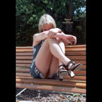 Flashing On Park Bench - Blonde Hair, Flashing, Nude Outdoors, Naked Girl, Nude Amateur , Black Strappy Heels, Up-skirt No Panties, Pussy Peek, Platinum Blonde Hair, Partial Hidden Face, Flashing Her Pussy, Arms On Knees, Sitting On A Bench Outdoors, Between The Legs Pussy View, Legs And Heels, Legs On Park Bench, Showing Her Pussy, Sitting With Knees Up, Printed Short Dress