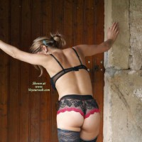 Wife In Sexy Lingerie - Blonde Hair, Round Ass, Sexy Ass, Sexy Lingerie , Black Lace On Hot Body, Bent Over, Black And Red Panties, Blonde With Back Facing Camer, Outdoor Black Lingere Rearview, Dressed In Lace, Little Round Ass, See Through Black Panties With Red Trim, Black Lace Bra, Outdoor Lingere, Blue Hair Clip, Lace Top Stockings