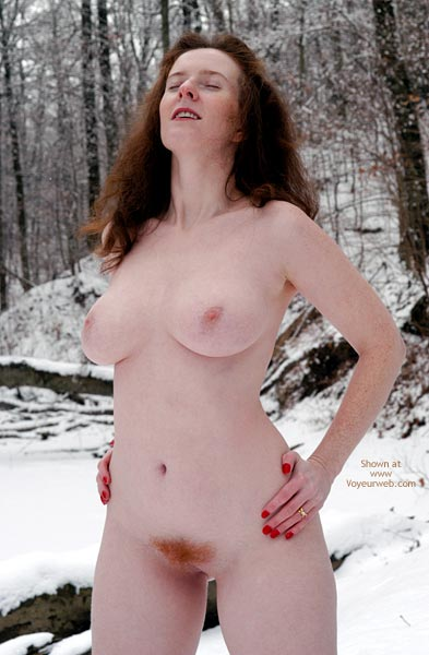 Red Pubic Hair - In The Woods , Red Pubic Hair, Nude Girl Outdoors In Winter, Red Nail Polish, Naked Redhead In The Woods