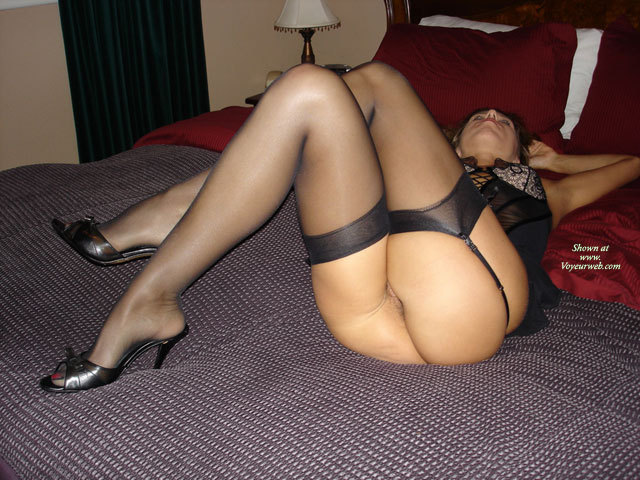 Lying On Bed Bottomless In Garter Stockings And High Heels - Bottomless, Heels, Milf, Round Ass, Stockings, Sexy Ass, Sexy Legs , Lying On Hotel Room Bed, Black High Heel Sandals, Sexy Round Milf Ass, Posing On Bed, Shapely Legs, Ass Facing Camera, On Her Back With Her Legs Crossed