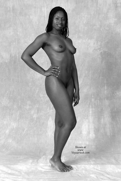 Black Girl - Black And White , Black Girl, Standing Fully Nude In Studio, Black And White