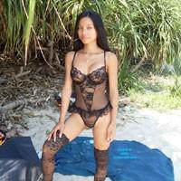 At The Beach in HK - Asian, Bikini Voyeur, Beach, Brunette