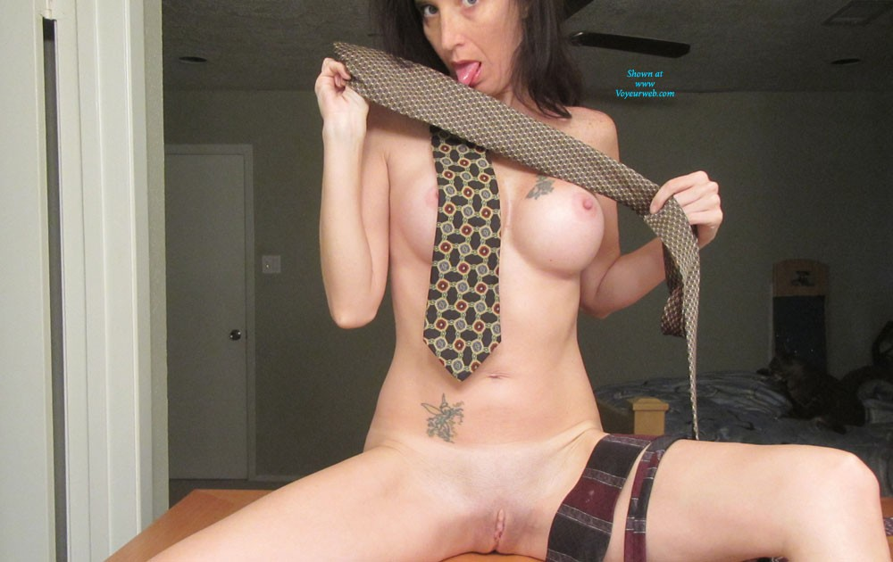 Me and My Tie - Big Tits, Brunette Hair , Just Sitting Around Playing With A Tie