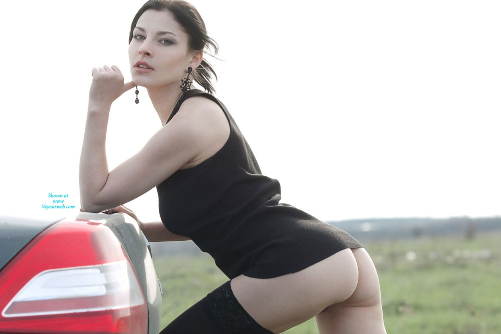 Pic #1Sexy Vilena in The Car - Brunette, Bush Or Hairy