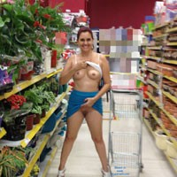 Red Hot Flashing at Supermarket - Exposed In Public, Heels, Nude In Public